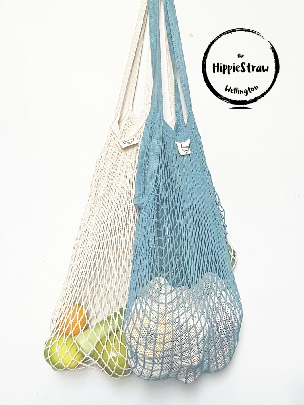 Large String 100% Cotton Bag with Long Handle (Natural & Ocean Blue)