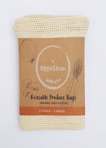 HIPPIESTRAW LARGE REUSABLE PRODUCE BAGS 100% ORGANIC COTTON