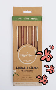 ROSE GOLD SMOOTHIE STRAW - Pack of 4 + cleaner