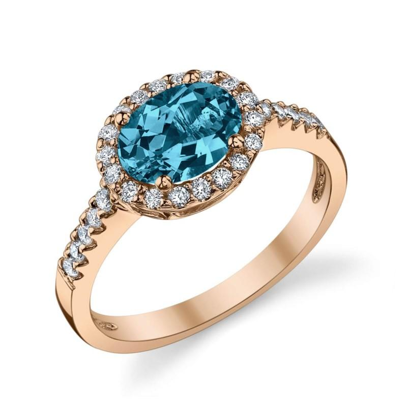 Blue Zircon East West Ring