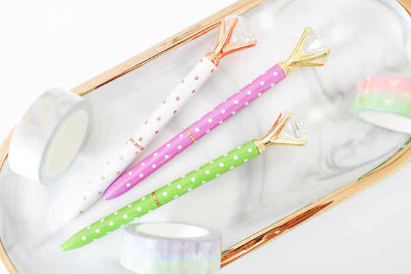 New Colors Diamond Pen, Gold Pen, Rose Gold Pen, Crystal Gem Pen