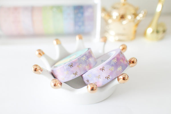 Hydrangen Bloom Bow Washi with gold foiling