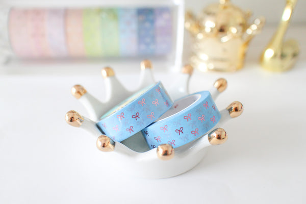 Light Blue Bow Washi with pink foiling
