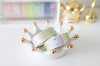 Rainbow Stripe Bow Washi with silver foiling