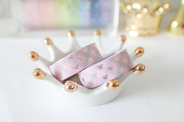 Pink Plaid Bow Washi with gold foiling