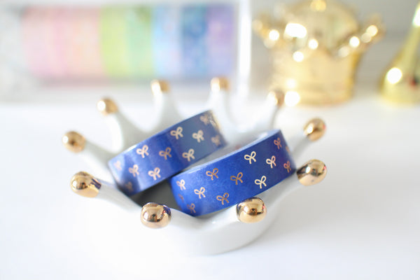 Navy Blue Bow Washi with rose gold foiling