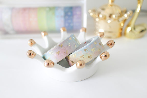 Soap Bubble Bow Washi with Gold Foiling