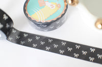 Black Marble Bow Washi with Silver Foiling