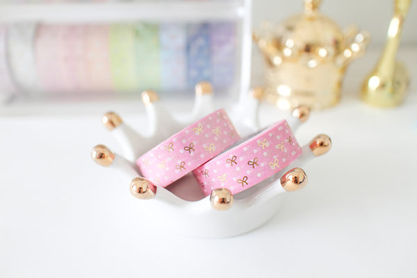 Pink Polka Dot Bow Washi with Gold Foiling
