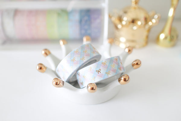 Plaid Bow (Pink X Blue) Bow Washi with Gold Foiling