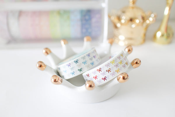 White Bow Washi with Rainbow Foiling
