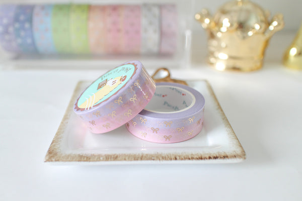 Pastel Purple Pink Bow Washi with Rose Gold Foiling