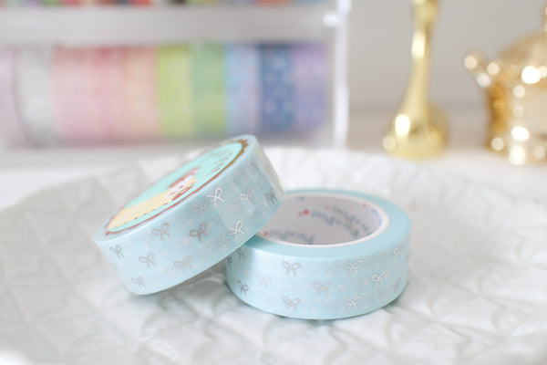 Baby Blue Polka Dot Bow Washi with Silver Foiling