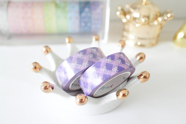 Purple Plaid  Washi with Silver Foiling