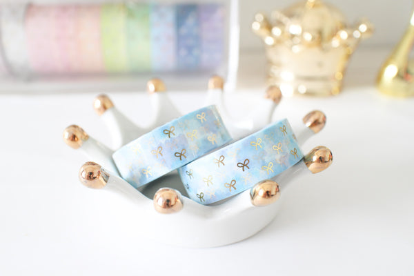 Sky Bloom Bow Washi with Gold Foiling