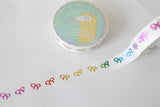 10mm White Bow Washi with Rainbow Foiling