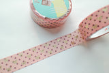 Choco Berry Polka Dot Bow Washi with Gold Foiling