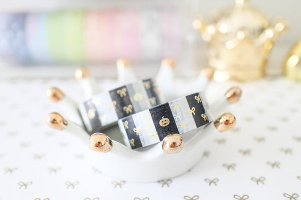 Halloween Stripe Bow Washi with Gold Foiling