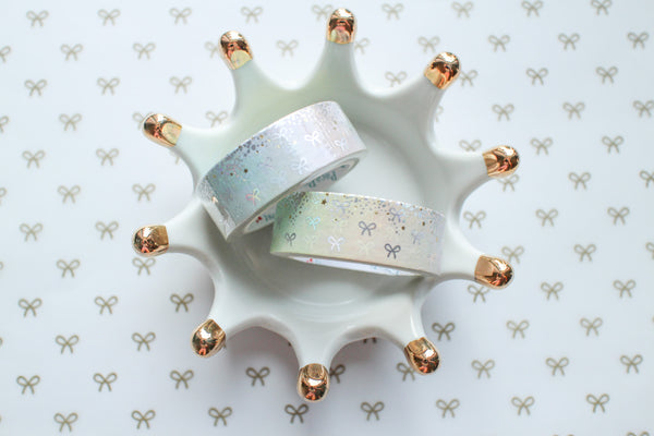 Bling Bling Rainbow Bow Washi with Holo Silver & Gold Foiling