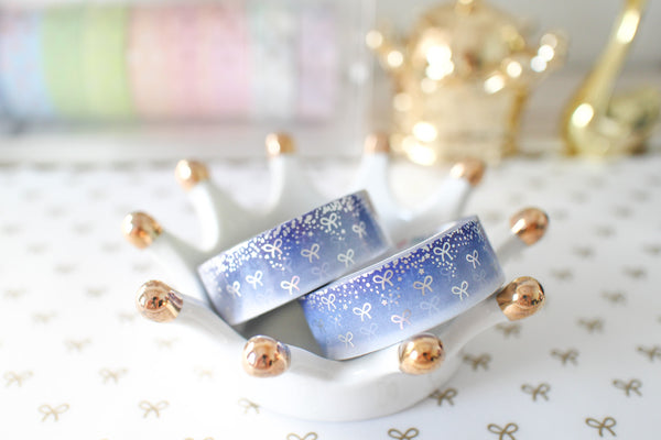 Snowy Bling Bling Bow Washi with Holo Silver Foiling