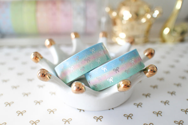 Smash Mallow Bow Washi with Holo Silver Foiling