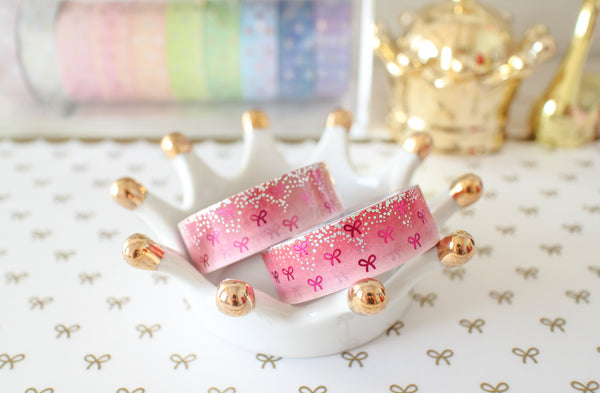 Red Velvet Bling Bling Bow Washi with Holo Silver Foil & Rose Pink Foil