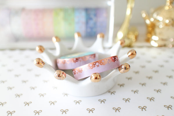 10mm Lace Border Washi with Rose Gold Foiling