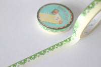 10mm Green Lace Border Washi with Green Foiling