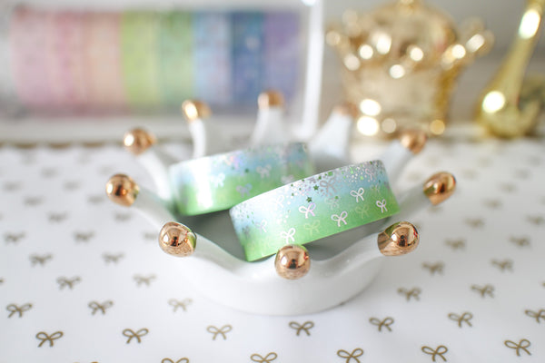 Spring Bling Bling Bow Washi with Holo Silver & Green Foiling