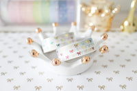 White Bling Bling Bow Washi with Holo Silver Foil & Rainbow Foiling