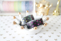 Black Bling Bling Bow Washi with Holo Silver Foil & Rainbow Foiling