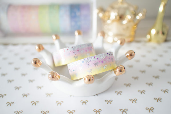 Sweetie Bling Bling Bow Washi with Holo Silver Foil & Rainbow Foiling