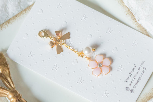 Handmade dangle planner resin cherry blossom charm with pearl and ribbon bow charm