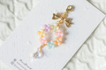 Handmade dangle planner resin colourful flower wreath charm with water drop crystal and ribbon bow charm