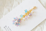 Handmade dangle planner resin flower in purple & blue charm with crystal and pearl
