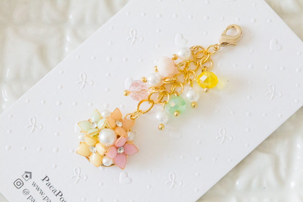 Handmade dangle planner resin flower in spring color charm with crystal and pearl