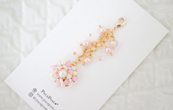 Handmade dangle planner resin flower in pink charm with crystal and pearl