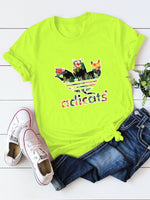 Tropical Letter And Cat Print Tee