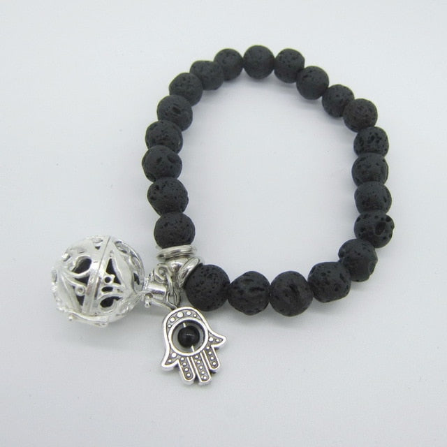 Black Lava Beads with Small Charm and Openable Locket Pendant Essential Oil Diffuser