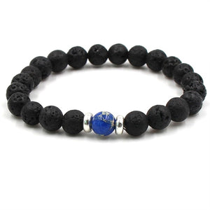 Essential Oil Perfume Diffuser 8mm Black Lava Stone Beads Bracelet Tiger's Eye Beads Bracelet Stretch Yoga Jewelry