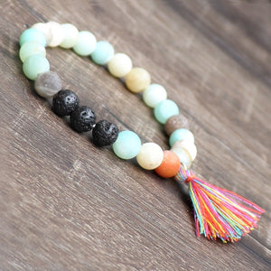 Nature Amazonite Lapis Lazuli Stone with Volcanic Stone Charm Essential Oil Diffuser Bracelet For Women or Men