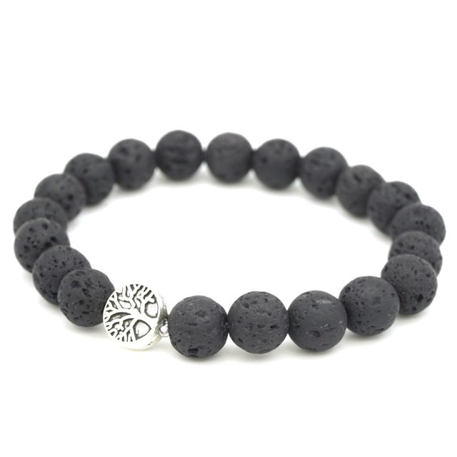 Round Tree of Life & Paw Charms 8mm Black Lava Stone Beads DIY Aromatherapy Essential Oil Diffuser Bracelet Yoga Strand Jewelry
