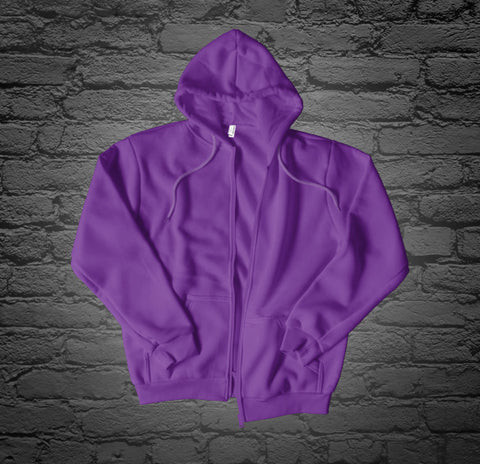 Custom Printed Purple Zip Up Hoodie