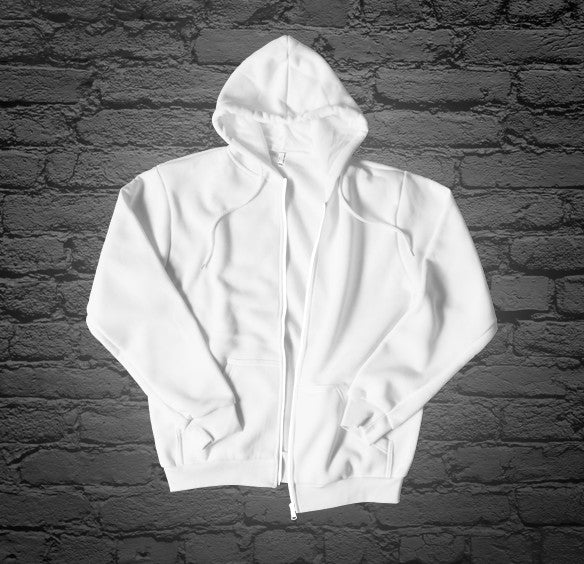Custom Printed White Zip Up Hoodie