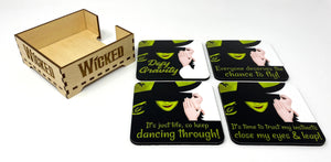 Wicked Coaster Set and Coaster Holder, Wicked Coasters, Wicked the Play Coasters, Wicked the Musical