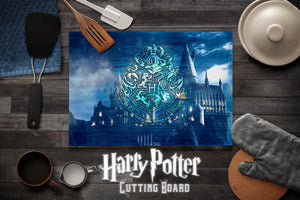 Harry Potter Cutting Board, Hogwarts Cutting Board, Kitchen Decor, Housewarming Gift, Anniversary Gift, Wedding Gift, Glass Cutting Board