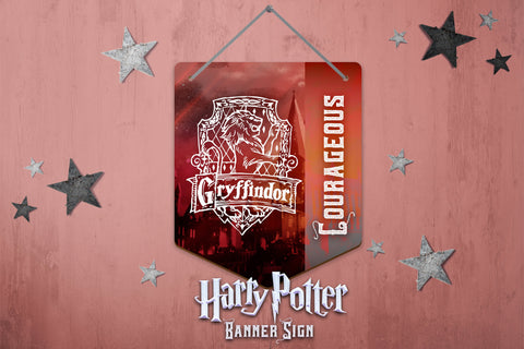 Harry Potter Wall Decor, Harry Potter Banner Sign, Gryffindor Sign, Harry Potter Hardboard Banner Sign