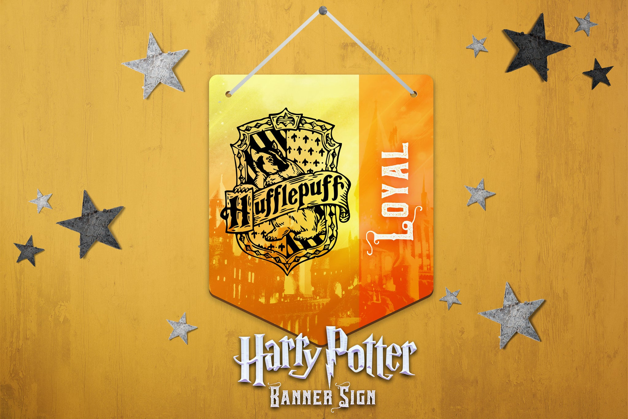 Harry Potter Wall Decor, Harry Potter Banner Sign, Hufflepuff Sign, Harry Potter Hardboard Banner Sign