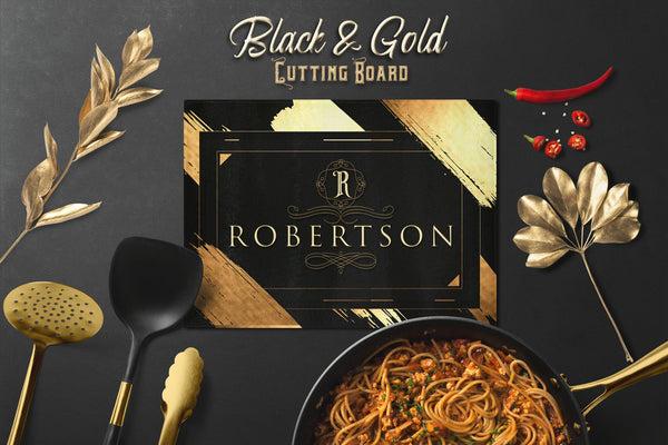 Gold and Black Cutting Board, Personalized Cutting Board for Bar, Kitchen Decor, Housewarming Gift, Glass Cutting Board