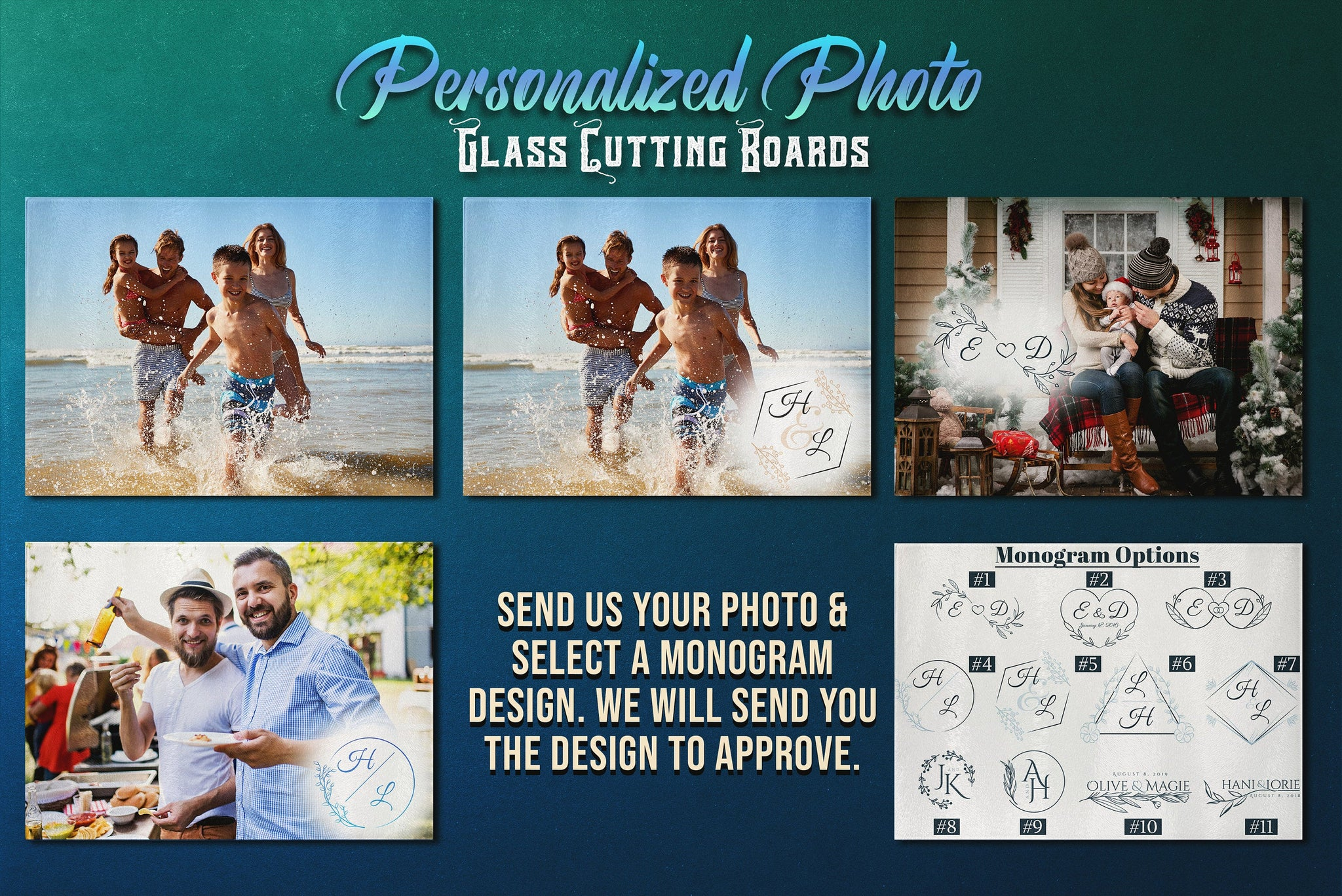 Personalized Cutting Board, Cutting Board Personalized with Your Photo and Selected Monogram, Photo Glass Cutting Board